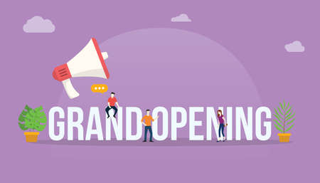 grand opening business concept with megaphone and people team office working together to launch product - vector Vecteurs