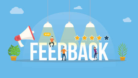 feedback big word customer rating with people team office and rate star - vector