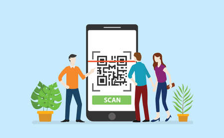 qrcode technology scan with office team people circle around big smartphone apps - vector