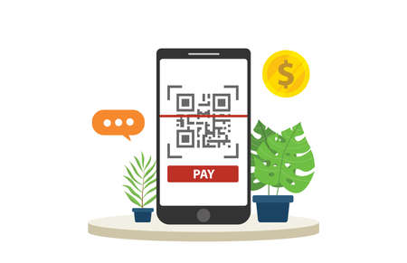 qrcode mobile payment technology isolated with big smartphone focus and gold coin money - vector Illustration
