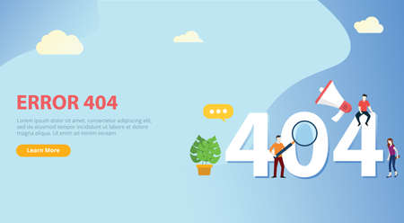 error 404 page not found website template with people team working together with blue background - vector 向量圖像
