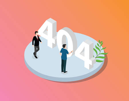 error 404 page not found website with isometric style team working together with modern gradient background - vector 向量圖像