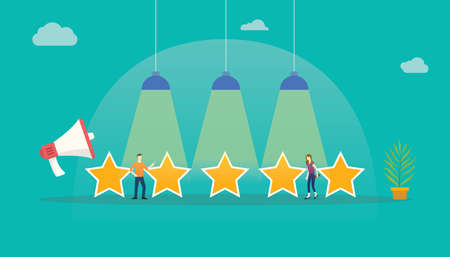 customer rating star feedback with team people standing with big stars - vector