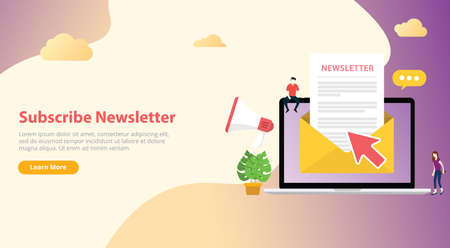 subscribe newsletter concept with team working together with open envelope 向量圖像