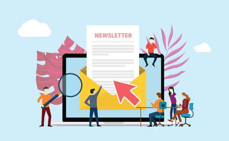 subscribe newsletter with people working together on the screen of laptop - vector