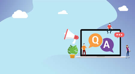 question and ask or qa for customer support with free space for text and laptop and people with megaphone icon - vector 向量圖像