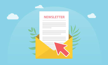 subscribe newsletter concept isolated with news paper and open envelope and subscribing arrow click - vector 向量圖像