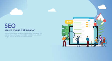 seo search engine optimization team working together on website design landing page ui - vector illustration