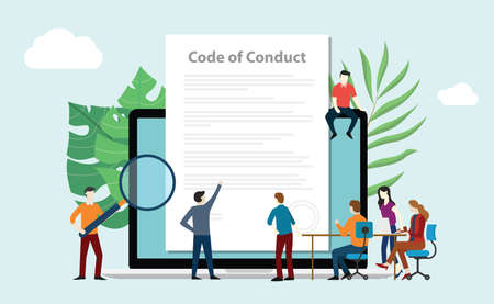 code of conduct team people work together on paper document on laptop screen - vector illustration Vectores