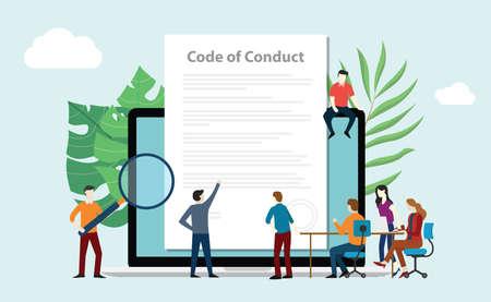 Les membres de l'équipe du code de conduite travaillent ensemble sur un document papier sur un écran d'ordinateur portable - illustration vectorielle Vecteurs