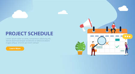 project schedule calendar timeline with people team work together on website design banner landing page ui template - vector illustration 向量圖像