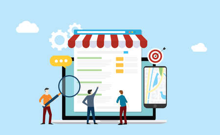 local seo market strategy business search engine optimization with team people working together on front of store and maps online - vector illustration