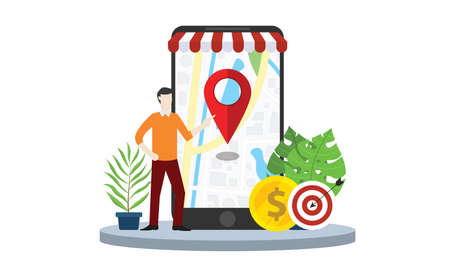 local seo market strategy business search engine optimization with business man stand in front of mobile smartphone with maps online - vector illustration