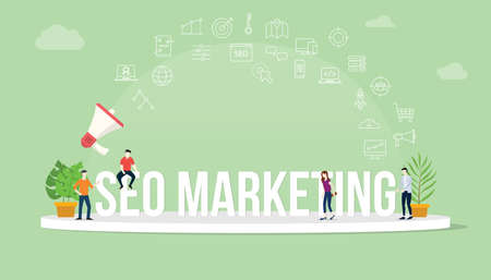 seo search engine optimization marketing concept with team people working together with big text title banner and icon about it spreading flying with loudspeaker - vector illustration