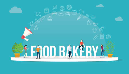 food bakery concept with team people working together with big text title banner and icon about it spreading flying with loudspeaker - vector illustration 向量圖像