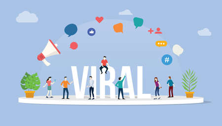 viral social media information content with team people standing around it with big text and various icon - vector illustration