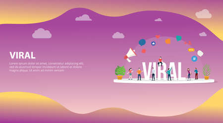 viral social media information content with team people standing around it with big text and various icon for website design page for landing ui with free space for text - vector illustration