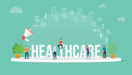 healthcare concept with team people working together with big text title banner and icon about it spreading flying with loudspeaker - vector illustration