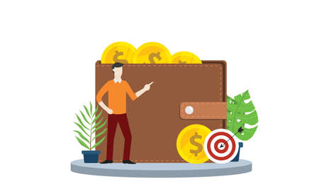 financial target personal with wallet and gold coin money and goals with modern style and business man person on left - vector illustration