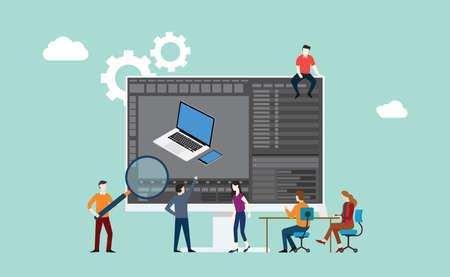 Equipo de software de desarrollo de objetos de modelado 3D trabajando juntos en el monitor de pantalla grande con estilo moderno - ilustración vectorial