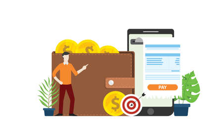 mobile online payment technology with business man people with invoice and gold coin money on walley - vector illustration