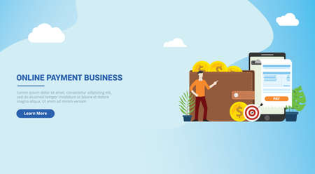 website design landing page ui for mobile online payment technology with business man people with invoice and gold coin money on walley - vector illustration
