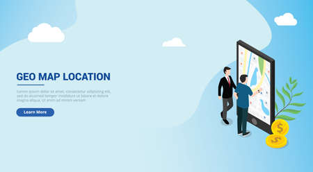 website design landing page ui for a man people access wireless geo geographic maps location on smartphone apps mobile navigation with isometric style - vector illustration 向量圖像