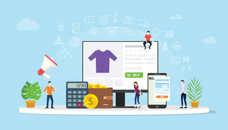 e-commerce online shopping with people buy with website interface cart icon with money calculator and apps invoice - vector illustration 向量圖像