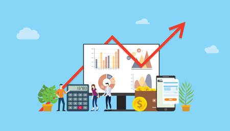 digital marketing budget financial campaign for advertising team people working together with graph and chart - vector illustration