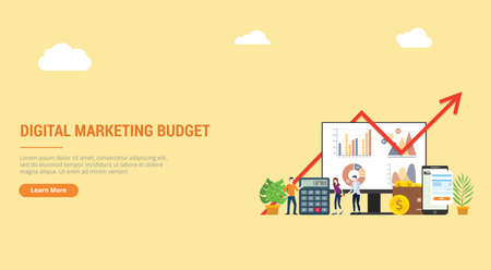website design landing page ui ux for digital marketing budget financial campaign for advertising team people working together with graph and chart - vector illustration