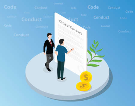 isometric code of conduct concept with business man standing together on front of text and reading - vector illustration 向量圖像