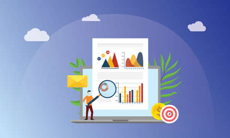 visual data marketing concept with business man people with magnifying glass analyze data graph and chart finance on paper document - vector illustration 向量圖像