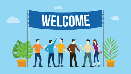 welcome sign board welcomes concept with business team people with big banner on top with green tree plants - vector illustration
