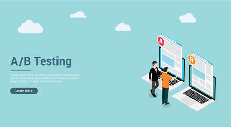 website design page template landing ui ab a b split testing concept with two business men compare test result between 2 page of website design comparison - vector illustration 向量圖像