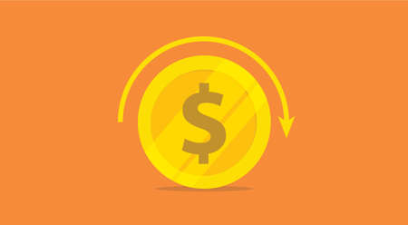 roi return on investment concept with gold money icon and return circle arrow rolling - vector illustration