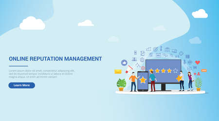 website design page template landing ui online reputation management team working together for customer review rating star with people work together to manage - vector illustration 向量圖像