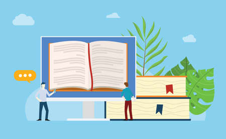 online books reading with open book on the monitor screen with stack and people team read together with blue background - vector illustration