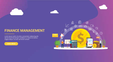 website design page template landing ui ux for finance or financial management with team people working together to manage the business company corporate - vector illustration