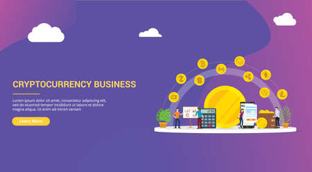 website design page template landing ui ux cryptocurrency business with various kind of option online modern money technology - vector illustration 向量圖像