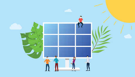 solar panel energy electric with team people on the near men and woman with big leaf and sun - vector illustration 向量圖像