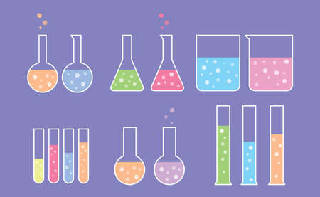 laboratory tools set collection with flat style and purple violet background with various shape - vector illustration 向量圖像