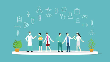 doctor health medical team together discussion with icon on top - vector illustration