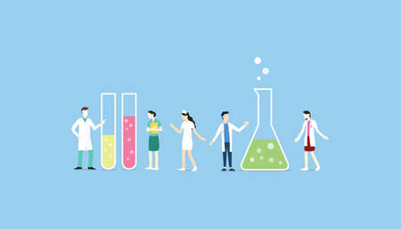 laboratory team with chemical tube set collection - vector illustration