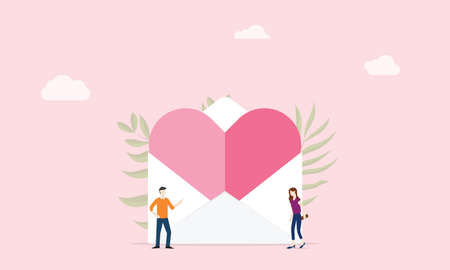 love letter with big heat pink and envelope with people couple - vector illustration 向量圖像