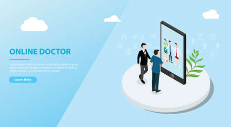 online doctor app service for website template banner - vector illustration