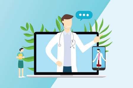 online doctor service technology for consultations with laptop and smartphone apps - vector illustration
