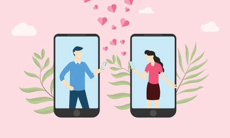 virtual online love relationship with couple text on smartphone app - vector illustration