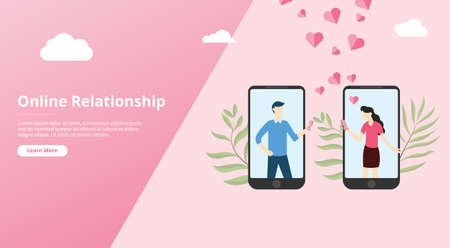 virtual online love relationship for website template banner with couple text on smartphone app - vector illustration 向量圖像