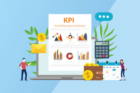 kpi key performance indicator concept with business report graphic and people team - vector illustration