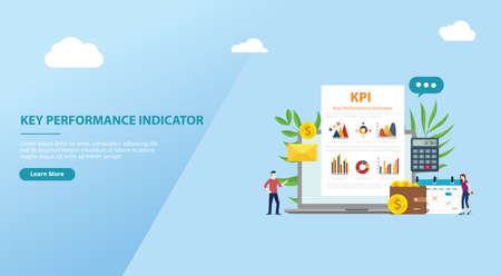 kpi key performance indicator concept website banner template with business report graphic and people team - vector illustration 向量圖像